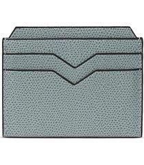 leather card holder - smokey blue