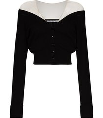 alexander wang sheer-shoulder button-up cardigan - black
