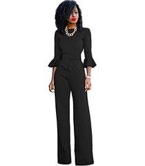 sheer formal jumpsuit with ruffle sleeves (8-10, black)