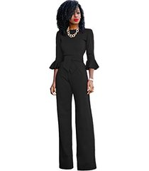sheer formal jumpsuit with ruffle sleeves (8-10, black)