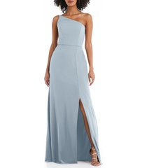 women's after six one-shoulder crepe trumpet gown, size 20 - blue