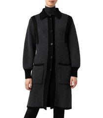 women's akris cash cashmere & virgin wool blend cardigan, size 8 - black