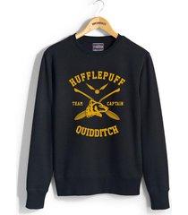 captain - new hufflepuff quidditch team captain unisex crewneck sweatshirt black