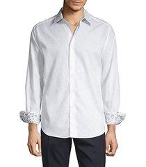 long-sleeve contrast button-down shirt
