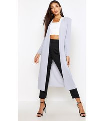 ruched waist maxi duster jacket, light grey