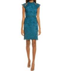 women's chi chi london crochet pencil dress, size 12 - blue/green