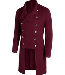 double breasted high low wool blend military coat