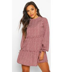 petite frill high neck floral smock dress, berry
