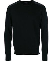 belstaff quilted shoulder detail sweatshirt - black