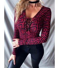 geométrico patrón camiseta de manga larga cruzada en v profunda cuello