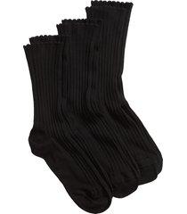 women's hue 3-pack scalloped rib crew socks