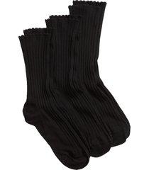 women's hue 3-pack scalloped rib socks, size one size - black