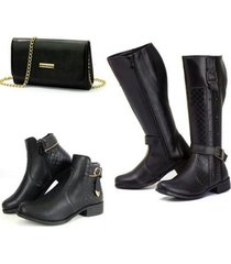 kit bota montaria + bota coturno + bolsa clutch feminina - feminino