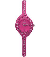 so girly orologio solo tempo in silicone fucsia e cristalli con quadrante fucsia per donna