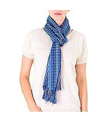 cotton scarf, 'sapphire nahualateis river' (guatemala)