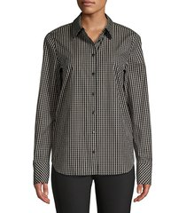 lafayette 148 new york women's scottie grid-print blouse - black multi - size xs