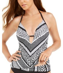 kenneth cole printed push-up halter tankini top women's swimsuit