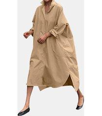 abito camicetta con risvolto a maniche lunghe tinta unita per donna