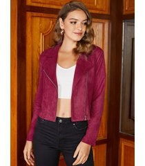 yoins chaqueta de manga larga con cuello redondo y solapa con cremallera roja