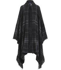 plaid fringe cashmere sweater cape