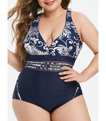 floral mesh panel piping plus size one-piece swimsuit