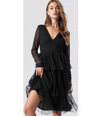 na-kd party mesh sleeve layered midi dress - black