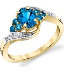 blue topaz (1-1/3 ct. t.w.) & diamond (1/20 ct. t.w.) swirl ring in 10k gold