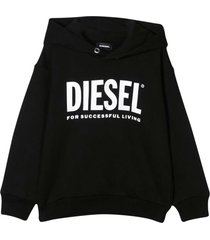 black sweatshirt with hood and white frontal logo
