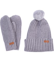 women's barbour whitlaw beanie & mitten set, size one size - grey