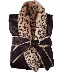 women's giraffe at home faux fur & satin robe, size 1 - brown