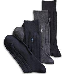 polo ralph lauren 3-pack cotton rib extended size casual men's socks