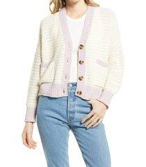 women's madewell kokomo colorblock cardigan, size x-large - beige