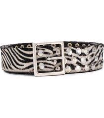 golden goose textured zebra belt - black