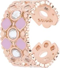 anello regolabile in ottone rosato con cristalli e smalto rosa per donna
