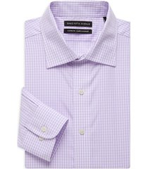 saks fifth avenue men's classic-fit check dress shirt - purple - size 17 34-35