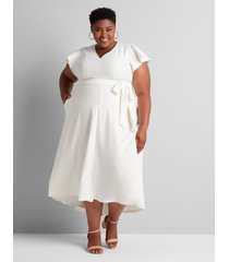 lane bryant women's lena high-low maxi dress 22p ivory