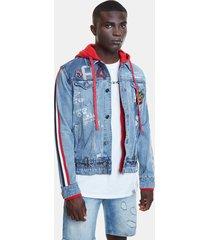 hybrid jacket denim patch, stripes and hood - blue - xl