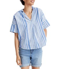 women's madewell courier stripe button back shirt, size small - white