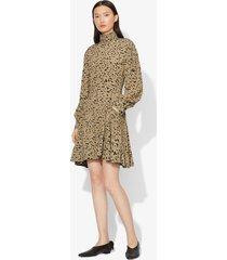 proenza schouler inky leopard print long sleeve short dress black/sage inky leopard/green 12