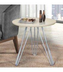 mesa de canto pé prateado c&m decor laca branco