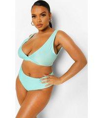 plus essentials bikini top met laag decolleté, bright green