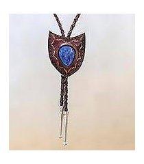 lapis lazuli and leather bolo tie, 'blue shield' (thailand)