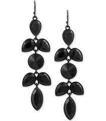 guess black-tone jet stone drop earrings