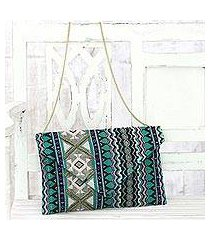 cotton blend convertible clutch/shoulder bag, 'creative charm' (india)