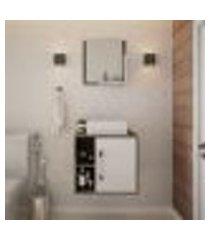 conjunto para banheiro gabinete com cuba q32 e espelheira soft 500 carvalho dark com branco