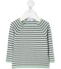 knot striped knitted jumper - grey