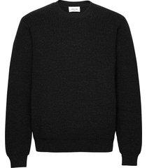ludwig jumper gebreide trui met ronde kraag zwart wood wood
