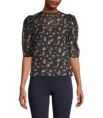 lea & viola women's sheer floral top - floral - size xs