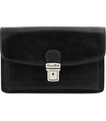 tuscany leather tl141444 arthur - esclusivo borsello a mano in pelle nero