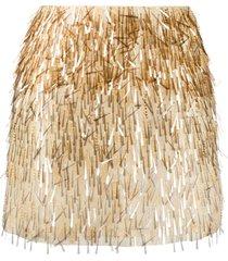 alberta ferretti silk embroidered mini skirt - gold